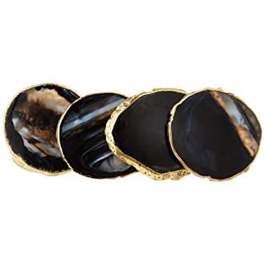 Modern Agate Coasters with Gold Edges and Rubber Bumpers (3.5 -4 ). Set of 4 Geode Stone Slices. Perfect Drink Holder for any Glass or Cup (Black)