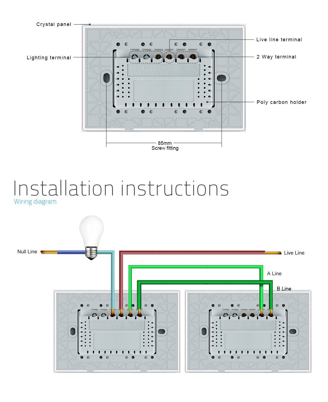 LIVOLO Interruttore della Luce con Indicatore LED Touch Switch con Pannello in Cristallo Toccare Interruttore a parete per Illuminazione Domestica,1 Gang 2 Way,C901S-12