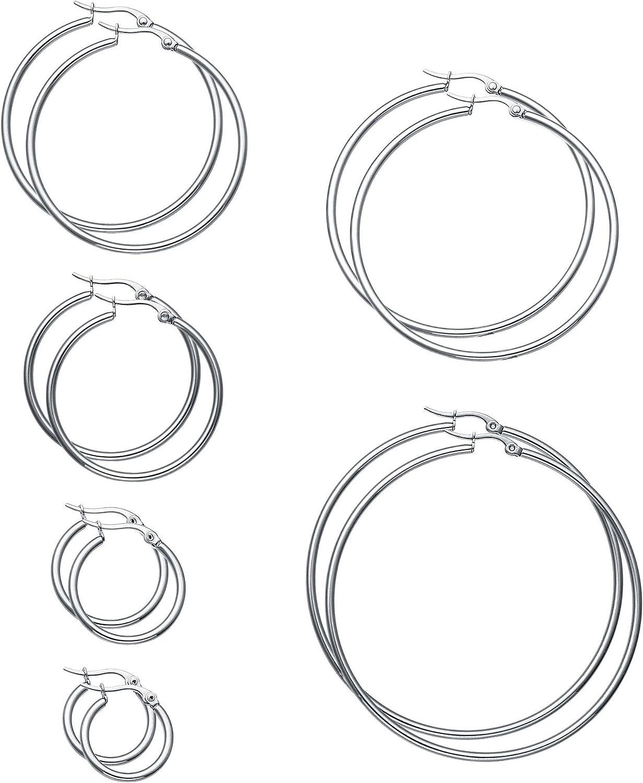 FIBO STEEL 6 Pairs Stainless Steel Hoop Earrings for Men Women Earrings Set 15-60mm