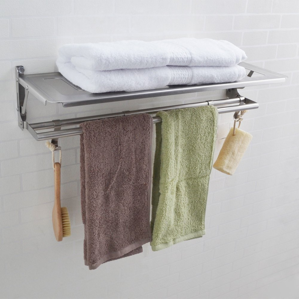 Kes Sus 304 Stainless Steel Bathroom Shelves Towel Rack With Folding Swivel Towel Bar And 4