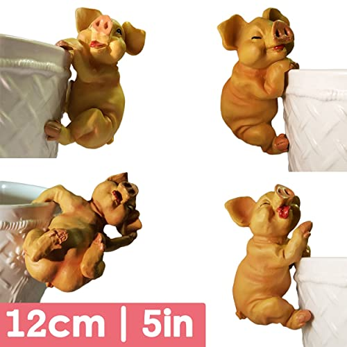 4X LARGER SIZE PIG PLANT POT HANGER | Quality Cute Gift Idea Souvenir Garden  Ornament Sculpture