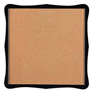 "Quartet Corkboard, Framed Bulletin Board, 14"" x 14"" Cork Board, Home Organization, Black Frame (50722)"