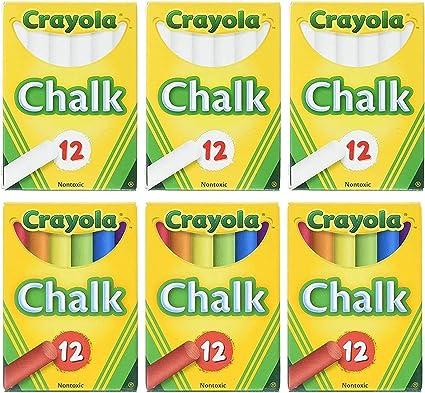Crayola - Juego de 2 tizas blancas + 2 unidades de tiza de color, Pack De 6: Amazon.es: Oficina y papelería