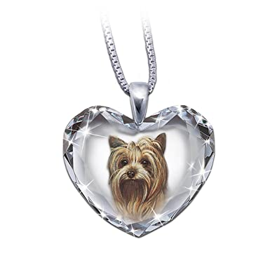 Amazon heart shaped crystal dog pendant necklace yorkie close heart shaped crystal dog pendant necklace yorkie close to my heart by the aloadofball Image collections