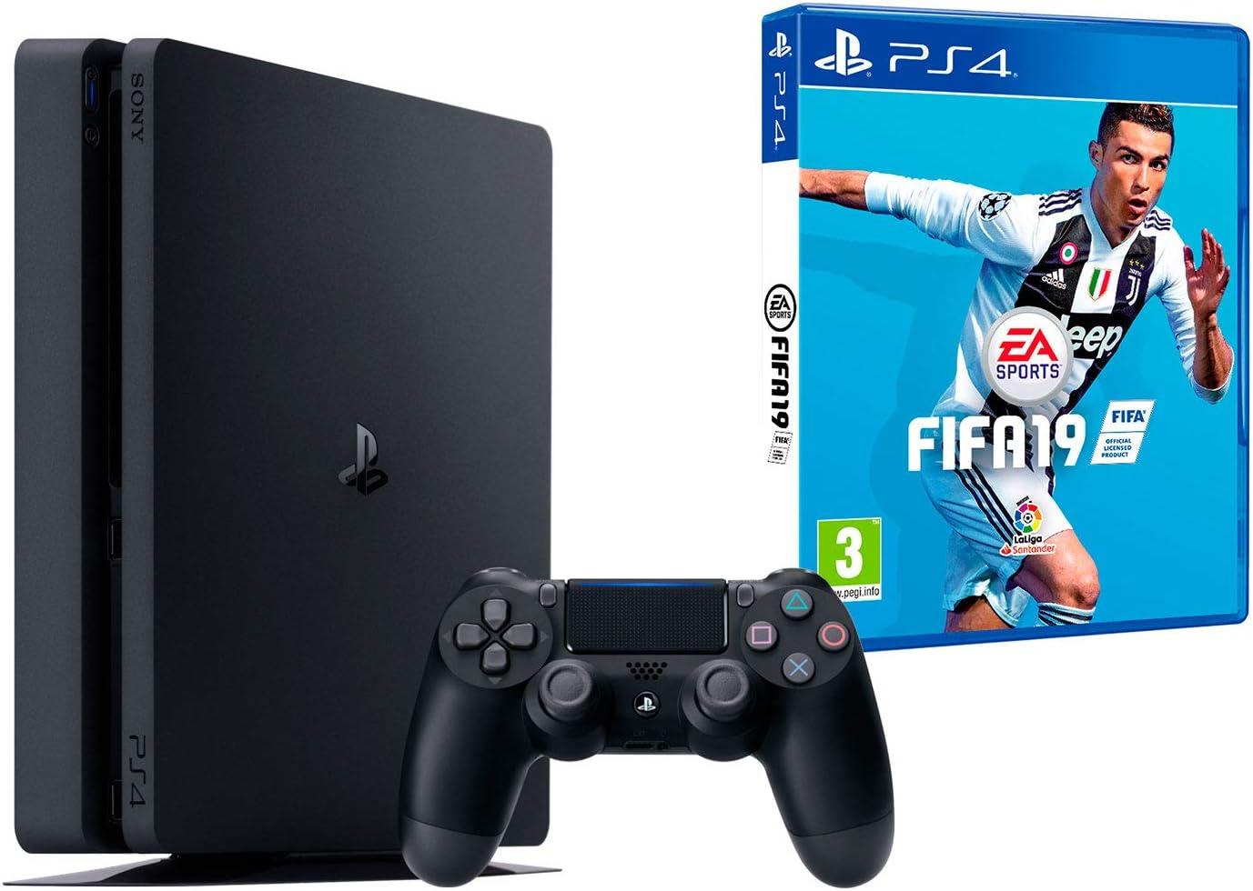 PS4 Slim 500Gb Negra Playstation 4 Consola + FIFA 19: Amazon.es ...