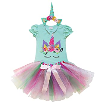 2fe4d6fc3f49c Amazon.com: So Sydney Toddler Girls Unicorn Tutu Ruffle Dress Skirt & Horn  Headband Costume: Clothing