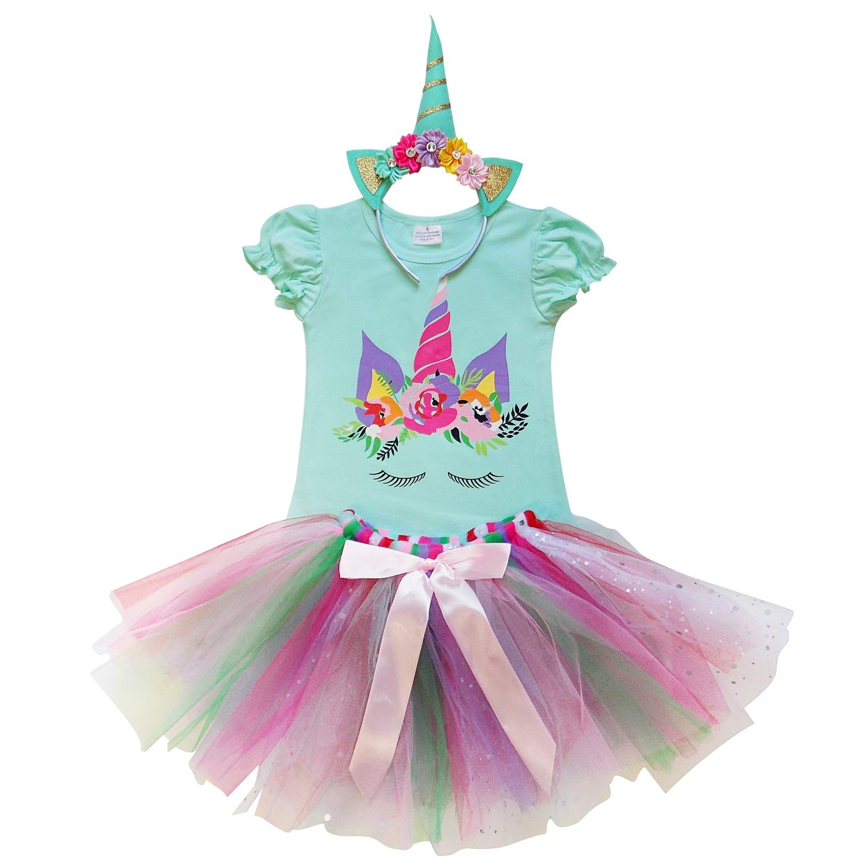 So Sydney Toddler Girls Unicorn Tutu Ruffle Dress Skirt & Horn Headband Costume DRESS-CASCRUF-PUNI-XXL
