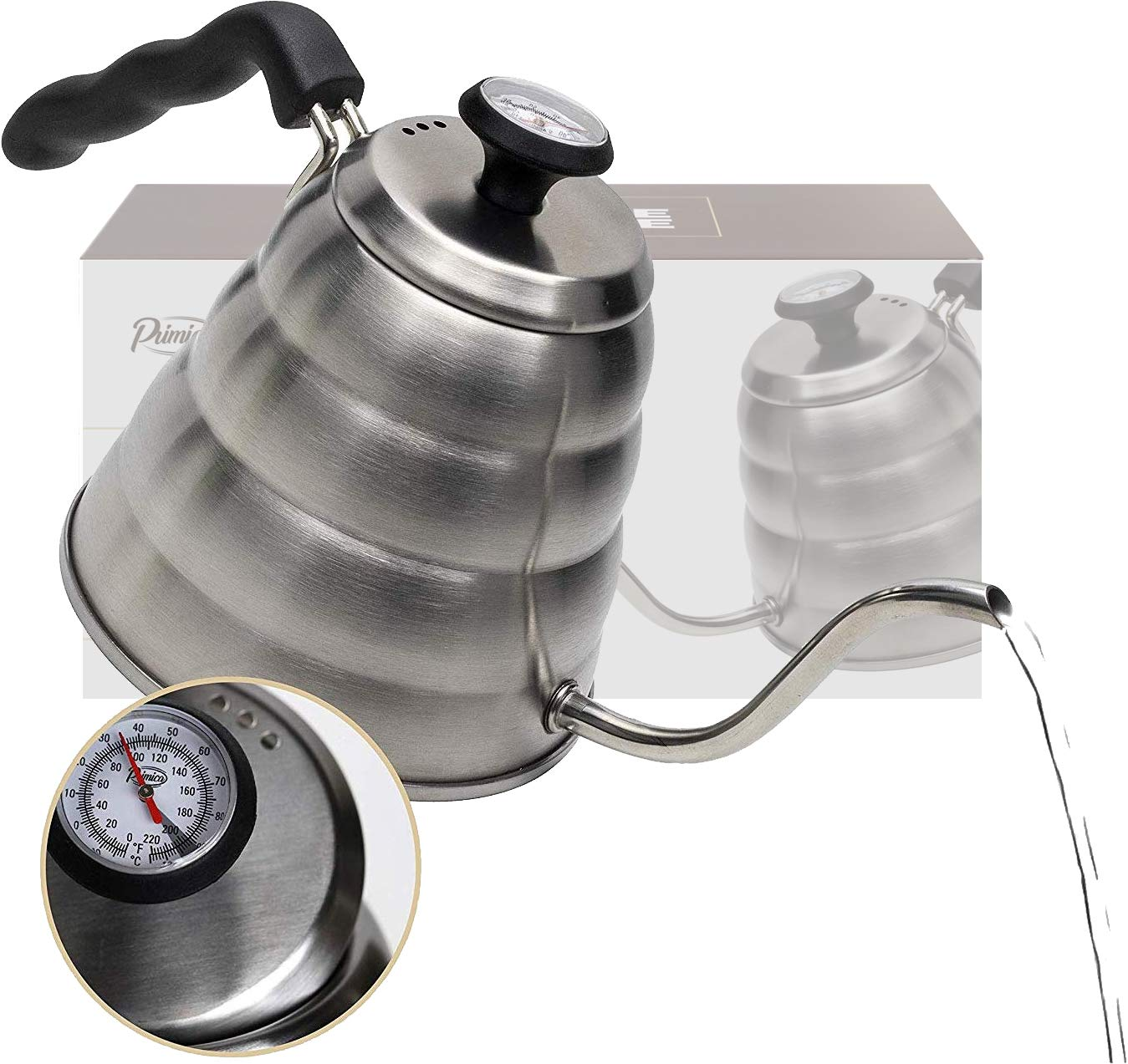 Pour Over Coffee Kettle with Outstanding Thermometer (40floz) - Gooseneck Kettle - Triple Layer Stainless Steel Bottom Works on any Heat Source for Drip Coffee and Tea by Primica (Image #1)