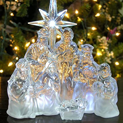 nativity scene led acrylic christmas nativity battery operated manger table top decoration holy - Battery Lighted Christmas Decorations