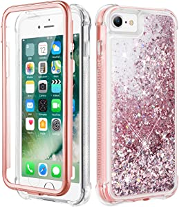 "Caka iPhone SE 2020 Glitter Case, iPhone 6 6s 7 8 Case Glitter Liquid with Screen Protector Full Body Case for Girls Girly Women Shockproof Protective Case for iPhone SE 2020 6 6s 7 8 4.7""- Rose Gold"