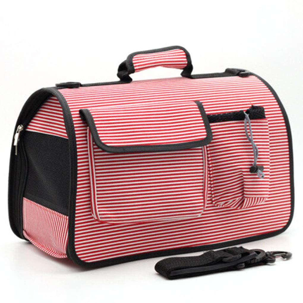 1 pet bag Cat Out Portable pet Breathable Backpack Out Shoulder Ventilation Stripe Bag Dog Carrying Portable Crossbody Bag