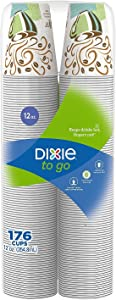 Dixie To Go Insulated Hot or Cold Cups - 100% Foam Free - Coffee Haze Design, 12 oz. (176 ct.)