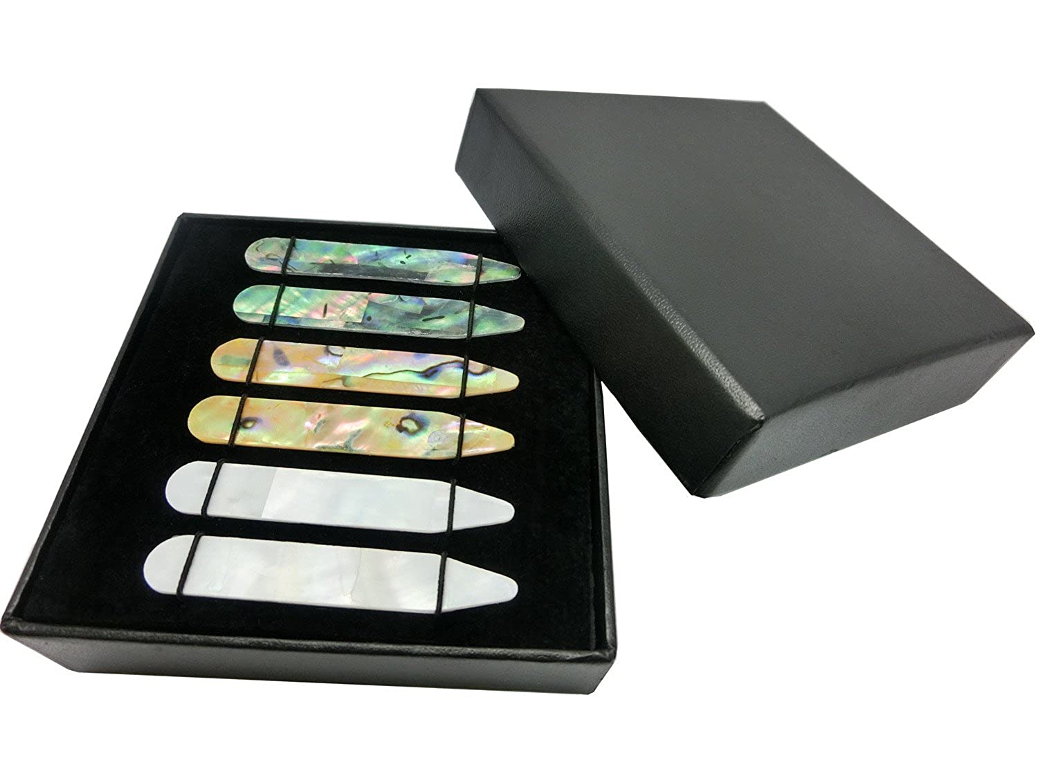 Shang Zun 6 Pcs Mother of Pearl Shell Collar Stays for Men's Dress Shirt 2.37