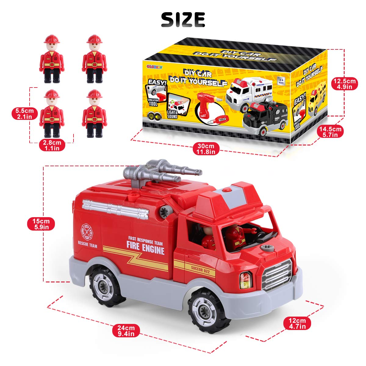 REMOKING STEM Learning Take Apart Toy for Boys & Girls, Build Your Own Car Toy Fire Truck Educational Playset with Tools and Power Drill, DIY Assembly Car with Realistic Sounds & Lights (3+ Ages) by REMOKING (Image #7)