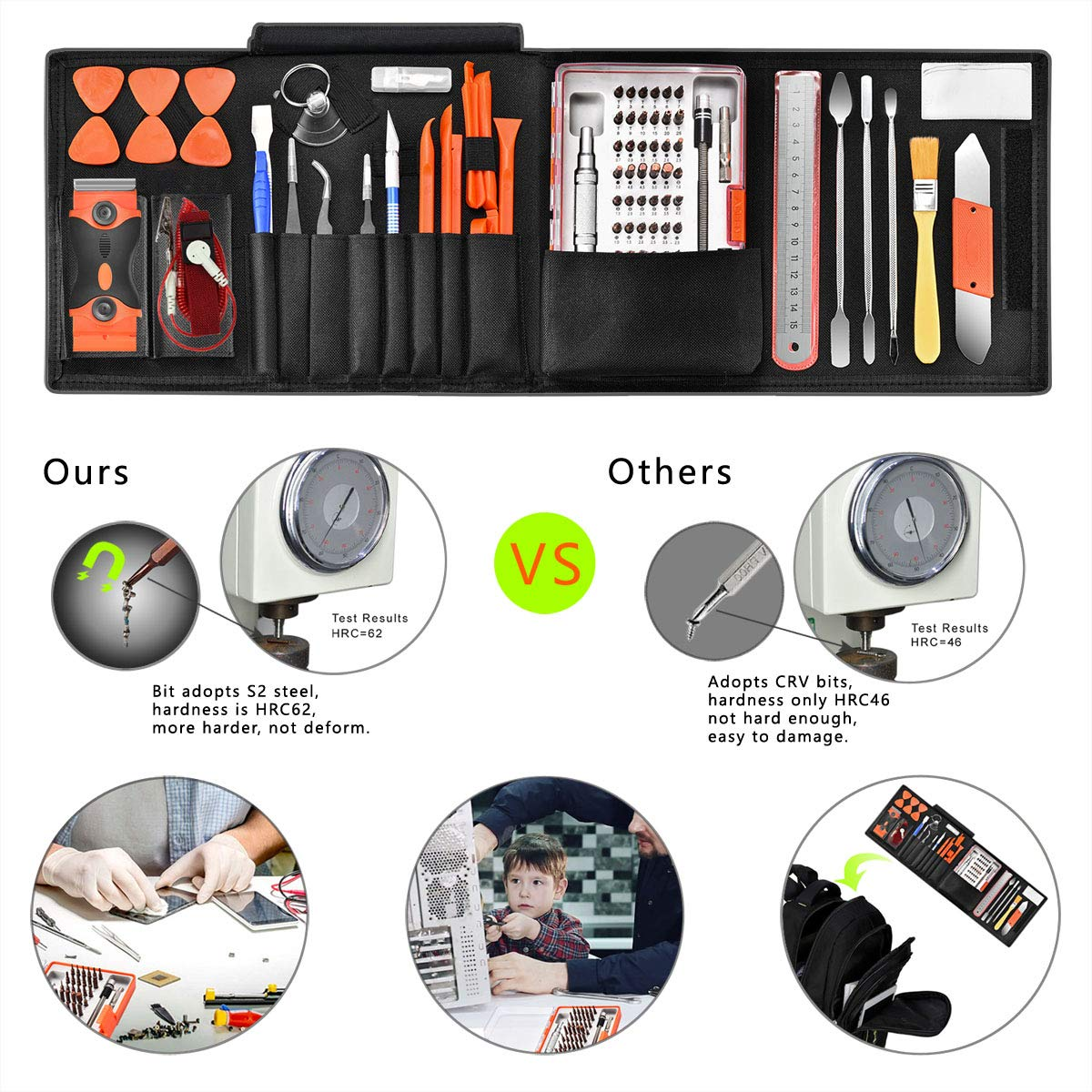 96 in 1 Screwdriver Set Precision,Full Electronic Repair Tool Kit Professional,S2 Steel for Fix iPhone/Computer/Mobile Phone/iPad/MacBook/Laptop/Watch/Game Console DIY Pry Open Replace Screen by GANGZHIBAO (Image #7)