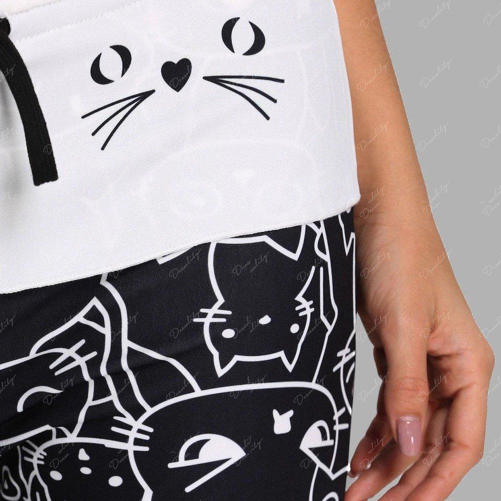 catmoew Frau Cat Drucken Hose mit weitem Bein Frauen Beiläufig Katzendrucke Kordelzug Hose Gamaschen Leggings