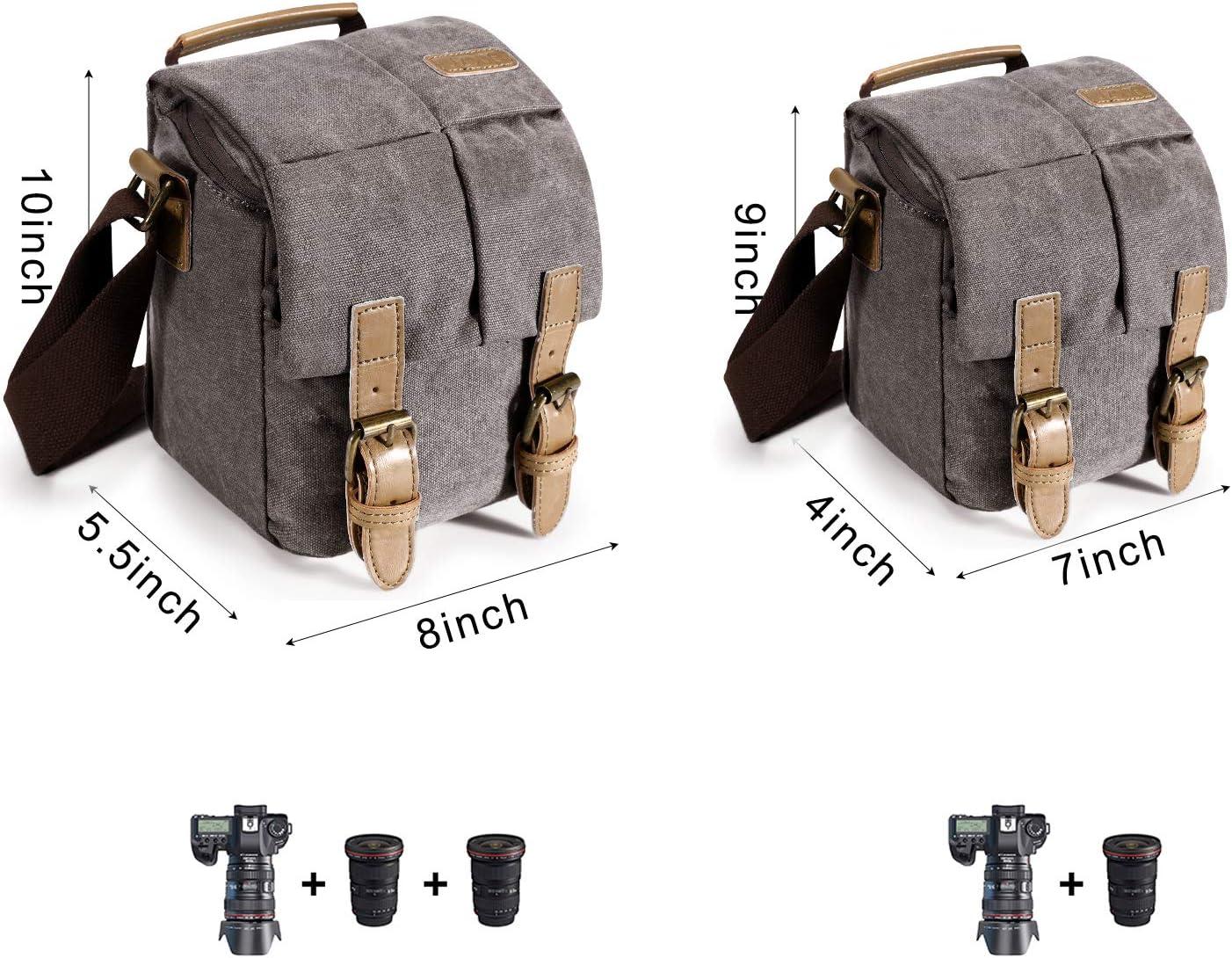 S-ZONE Kameratasche Vintage wasserdichte Canvas Leder Trim Umh/ängetasche mit sto/ßfestem Einsatz und Tablet-Tasche f/ür DSLR SLR und Zubeh/ör