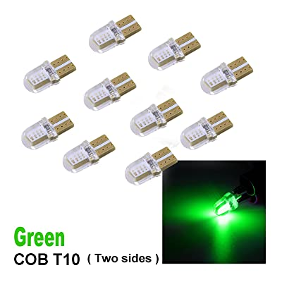 PA 10 x COB LED (Two sides each 4 chip) T10 921 T15 194 CANBUS Silica Bright Side Marker Light/Turn Signal Light/Driving Light/License Light Bulbs (Green): Automotive