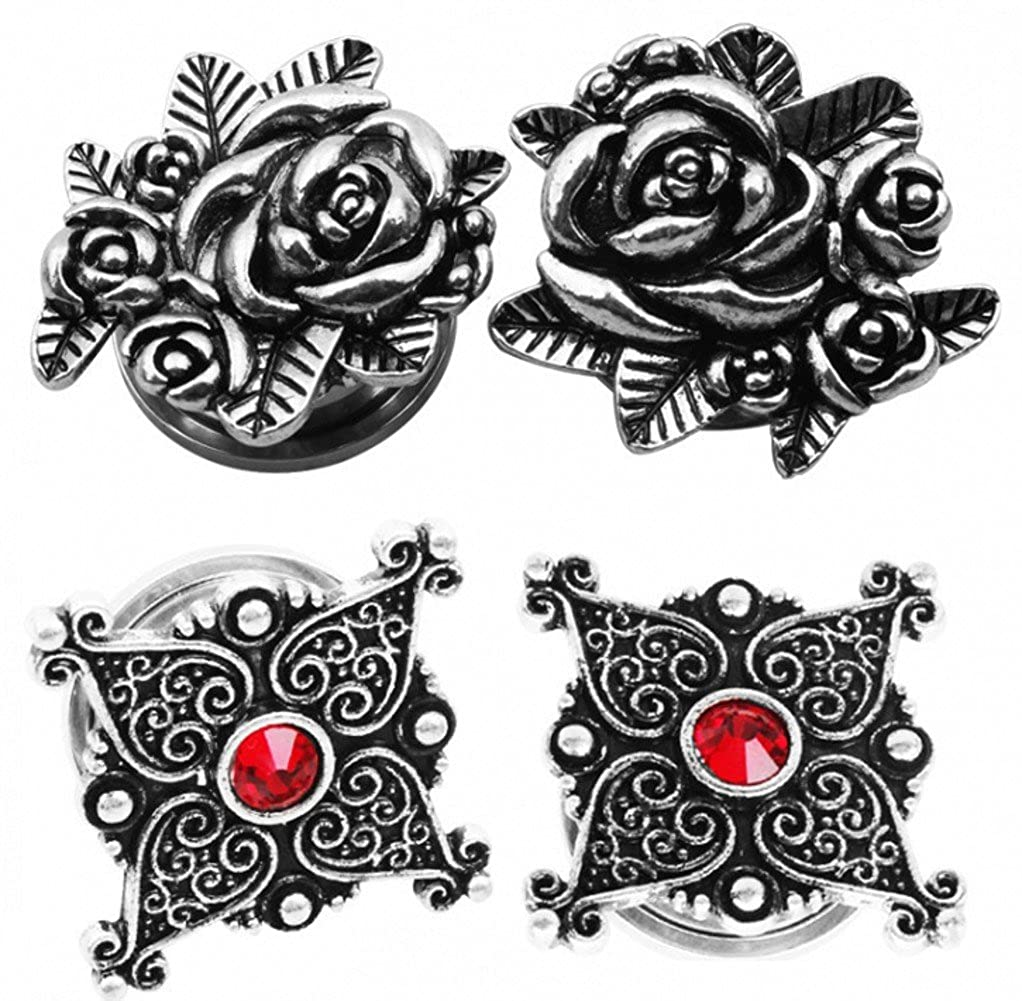 IPINK 2 Pairs Vintage Rose Flower Ear Expander Tunnel Body Piercing Jewelry 6MM-20MM