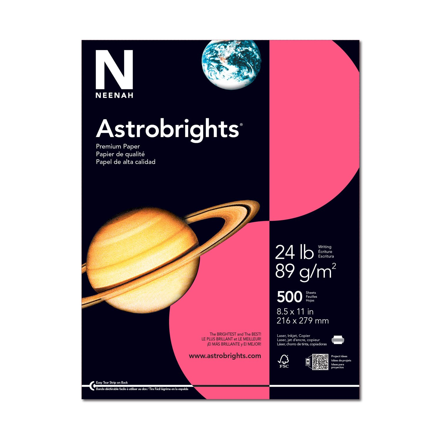 Wausau Astrobrights Heavy Duty Paper, 24 lb, 8.5 x 11 Inches, Plasma Pink, 500 Sheets (22118)