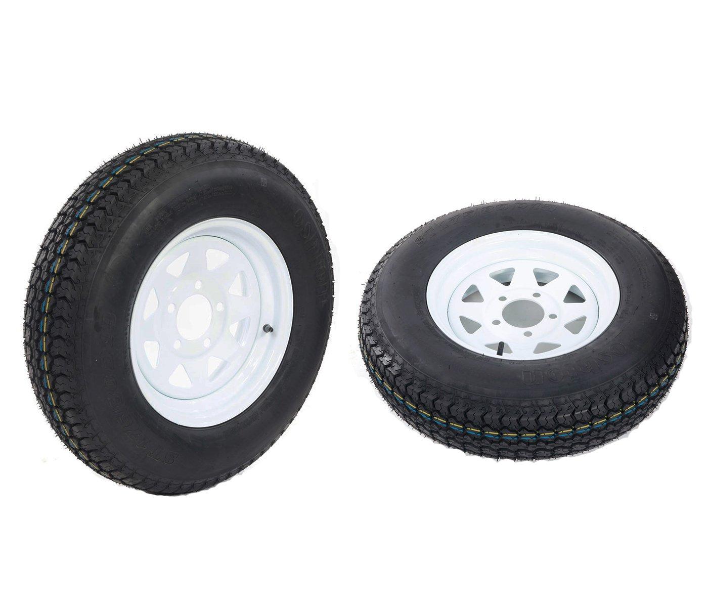 Set of 2 LRC ET Bias Trailer Tire Mounted on 13'' White Spoke 5 Lug Wheel, ST175/80D13