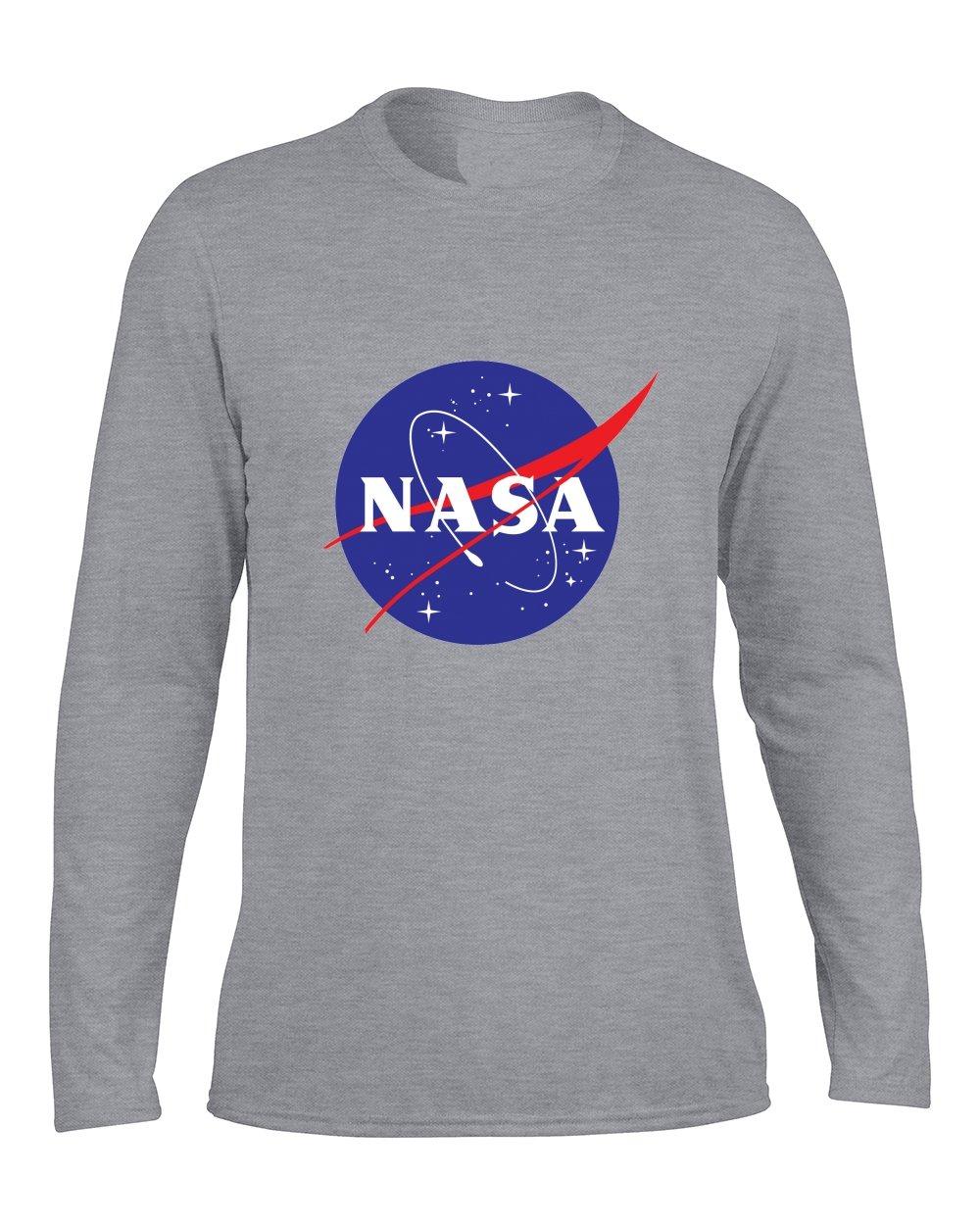 cefbd6fe32d833 DLQUEEN Men s NASA Logo Long Sleeve T-shirt Long Shirt Gray X-large Apparel