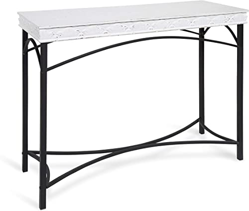 Kate and Laurel Strand Country Cottage Wood Console Table with Iron Legs, Coastal White