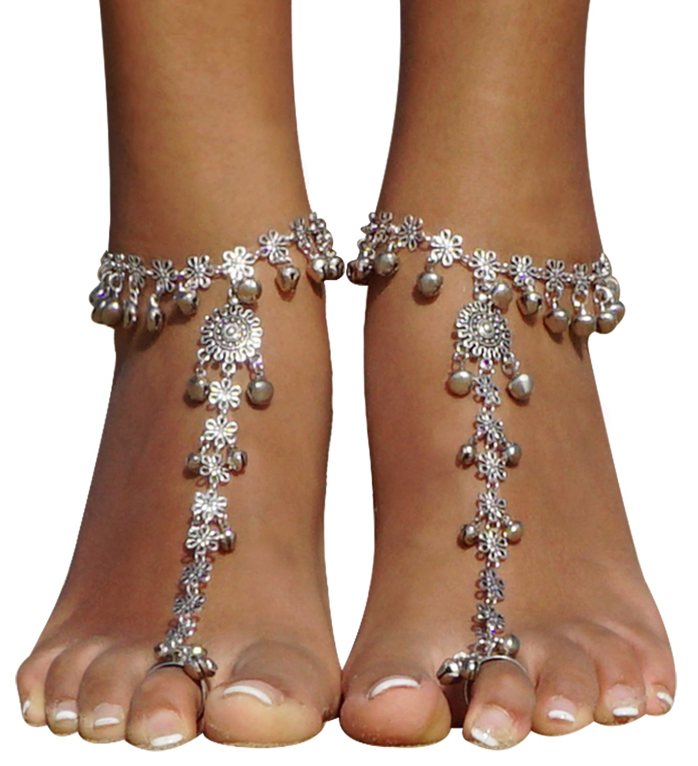 Bellady 2 Piece Vintage Style Small Bell Barefoot Sandals Summer Foot Jewelry Anklet Chain Bracelet, Silver Bell