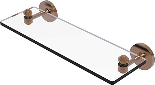 Allied Brass SB-1 16 South Beach Collection 16 Inch Vanity Beveled Edges Glass Shelf, Brushed Bronze