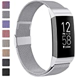 ZWGKKYGYH Metal Bands Compatible with Fitbit Charge 4/Charge 3/Charge 3 SE, Stainless Steel Mesh Magnetic Band…
