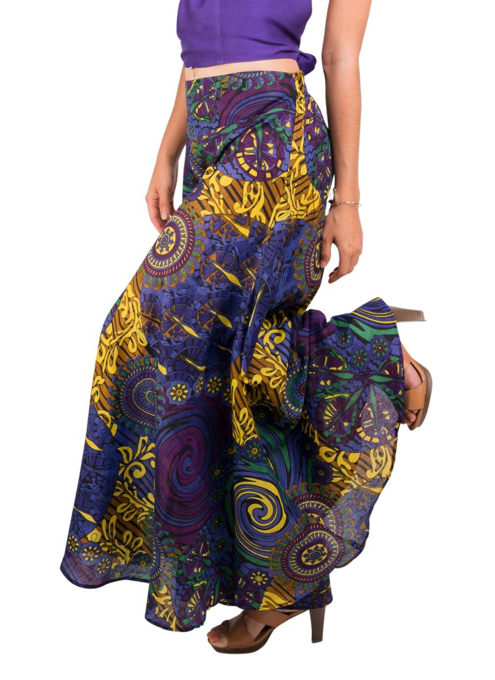 Tropic Bliss Women's Palazzo Pant, Dark Purple Hippie Style XL