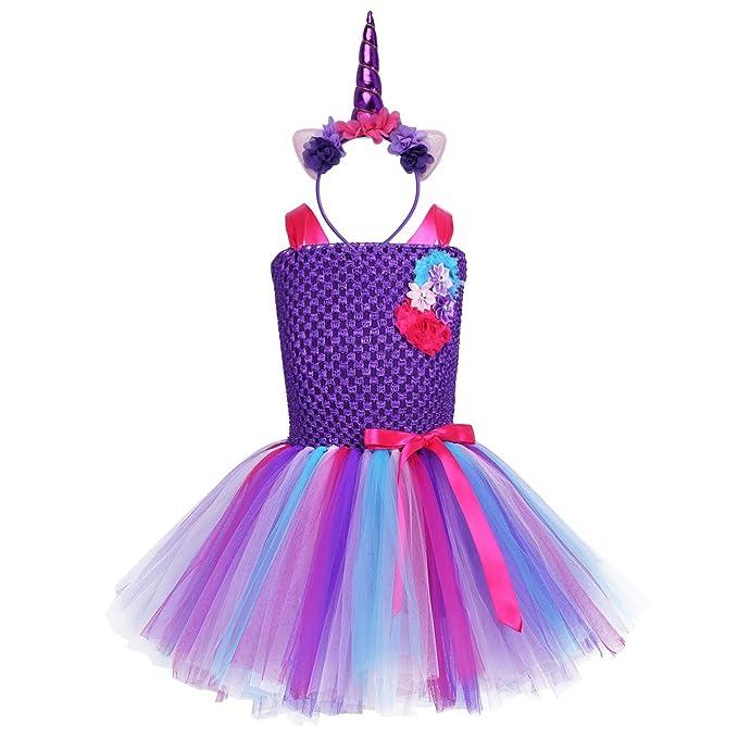 Alvivi Vestido Largo de Princesa Fiesta para Niña Disfraz Infantil Cosplay Unicornio Costume Halloween +Diadema