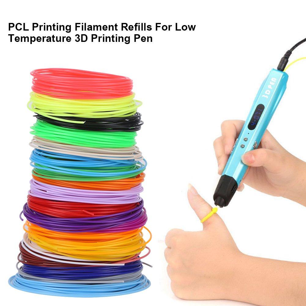 Filamento de PCL Filamento de Pluma de Impresora 3D 1.75 Filamento de Baja Temperatura para Impresora 3D 20 Colores 5m