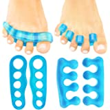 ViveSole Toe Stretchers (2 PAIRS) - Silicone Gel Separators - Therapeutic Spa Spreaders for Plantar Fasciitis, Bunions, Overlapping Hammer Toe Spacers - Metatarsal Yoga Cushion Dividers - Men, Women