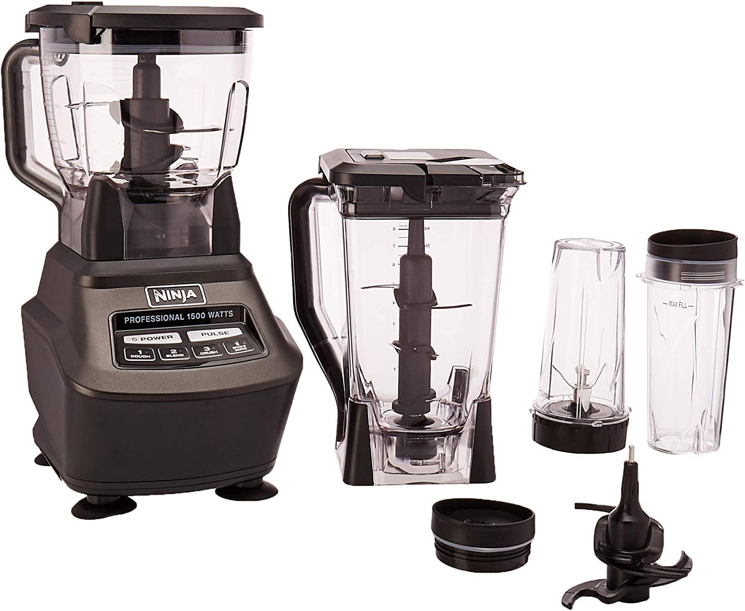 Ninja Mega Kitchen System BL770 Blender Food Processor with 1500W Auto-iQ Base, 72oz Pitcher, 64oz Processor Bowl, 2 16oz Cup for Smoothies, Dough More