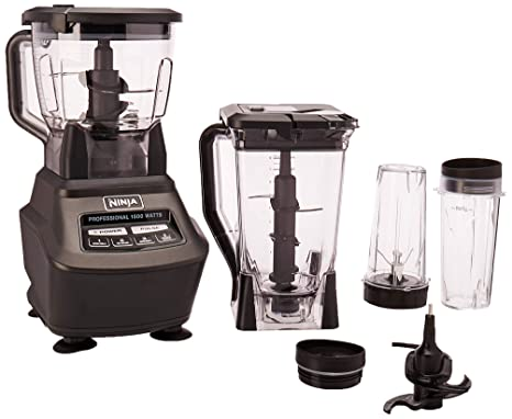 Ninja Mega Kitchen System (BL770) Blender/Food Processor with 1500W Auto-iQ Base, 72oz Pitcher, 64oz Processor Bowl, (2) 16oz Cup for Smoothies, Dough ...