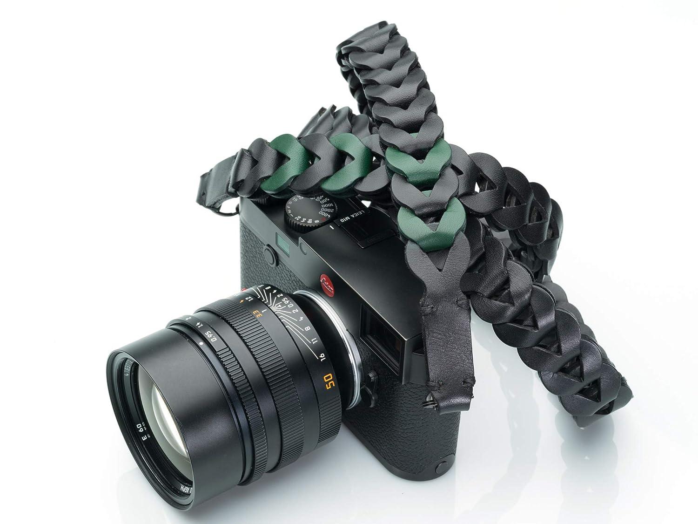Vi Vante Victory レザー ラグジュアリー カメラストラップ ブラック エメラルドグリーンのハイライトリンク付き 47インチ   B07MNXQ9XB