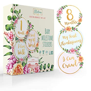 Baby Monthly Stickers 24 Pcs Floral Baby Milestone Stickers for Baby Girl 0-12 Months,Capture Loving Memories for a Scrapbook