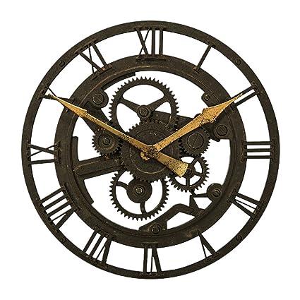Nclon Retro Reloj de Pared,Reloj de Números Romanos Redondo Sala de Estar Creativo Industrial