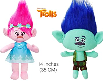 Set Of 2 Plush Princess Poppy And Branch From The Trolls