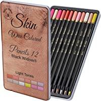 Ljus ton hudpennor, perfekt set med färgade pennor för vuxna och teckningspenna för konstnärer, perfekt färgläggning på…