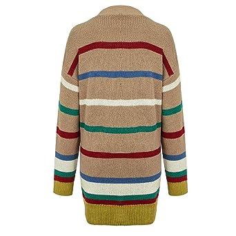 BHYDRY Las Mujeres de Manga Larga Color Block Rayas señoras Espesar suéter botón Largo Abrigo: Amazon.es: Ropa y accesorios