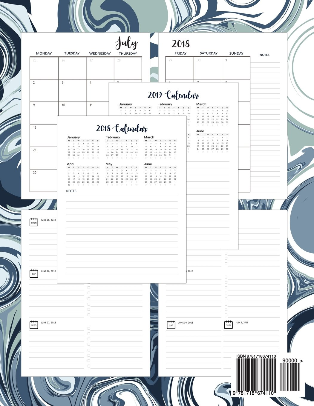 Planner July 2018-December 2019: Two Year - Daily Weekly Monthly Calendar  Planner |