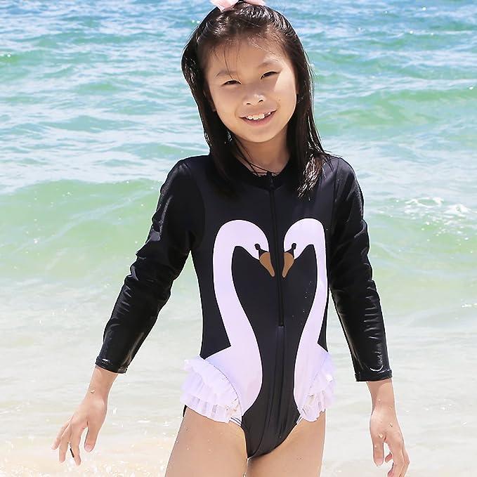 5cbf41cec2b Amazon.com: TFJH E Kids Girls Rashguard Swimsuit UV 50+ Long Sleeve One Piece  Swimwear 4-11Y: Clothing