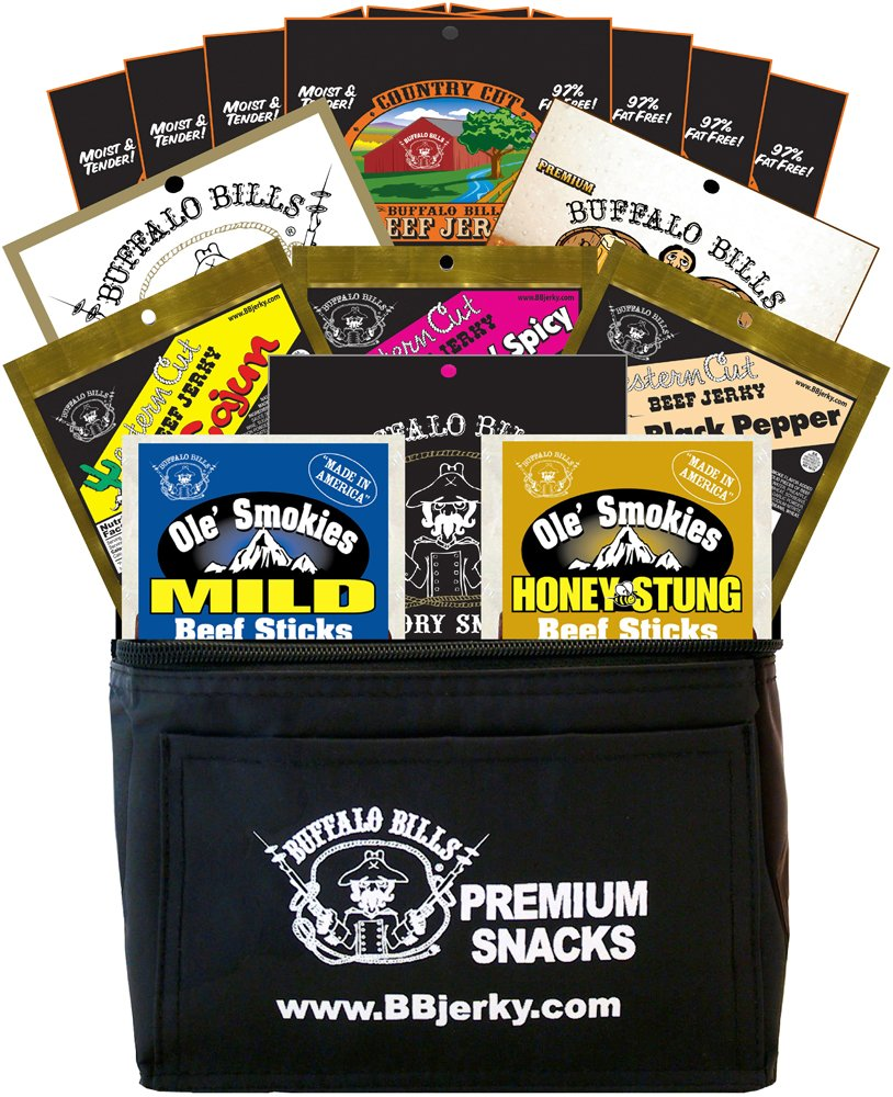 Buffalo Bills 15-Piece Low Carb Lovers Beef Jerky & Beef Stick 6-Pack Gift Cooler (2 carbs or less) by Buffalo Bills (Image #1)