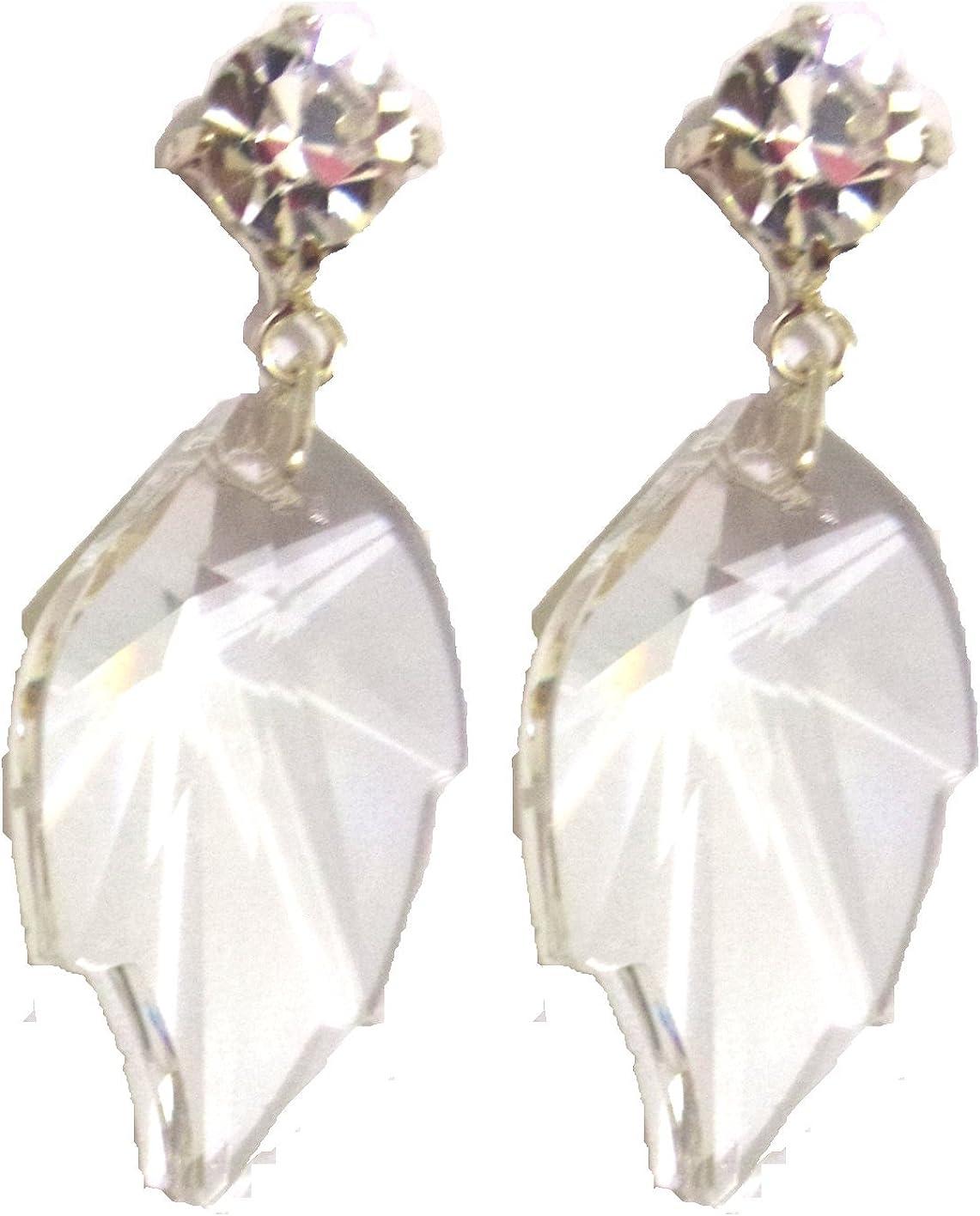 Pendientes de cristal de Swarovski hoja en blanco/hoja de cristal Swarovski gota pendientes en blanco
