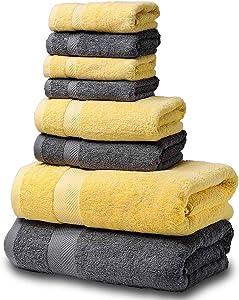 SEMAXE Towel Luxury Bath Towel Set. Hotel & Spa Quality. 2 Large Bath Towels, 2 Hand Towels, 4 Washcloths. Premium Collection Bathroom Towels (Yellow+Gray, 8 Towel Set)