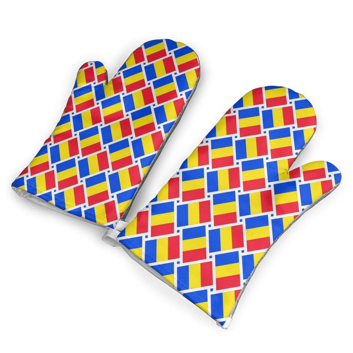 Oven Mitts 5.5 X 12 In Romania Flag Weave Non-Slip Kitchen Oven Gloves Heat Resistant Washable Cotton Lining by KIXYOUHUU
