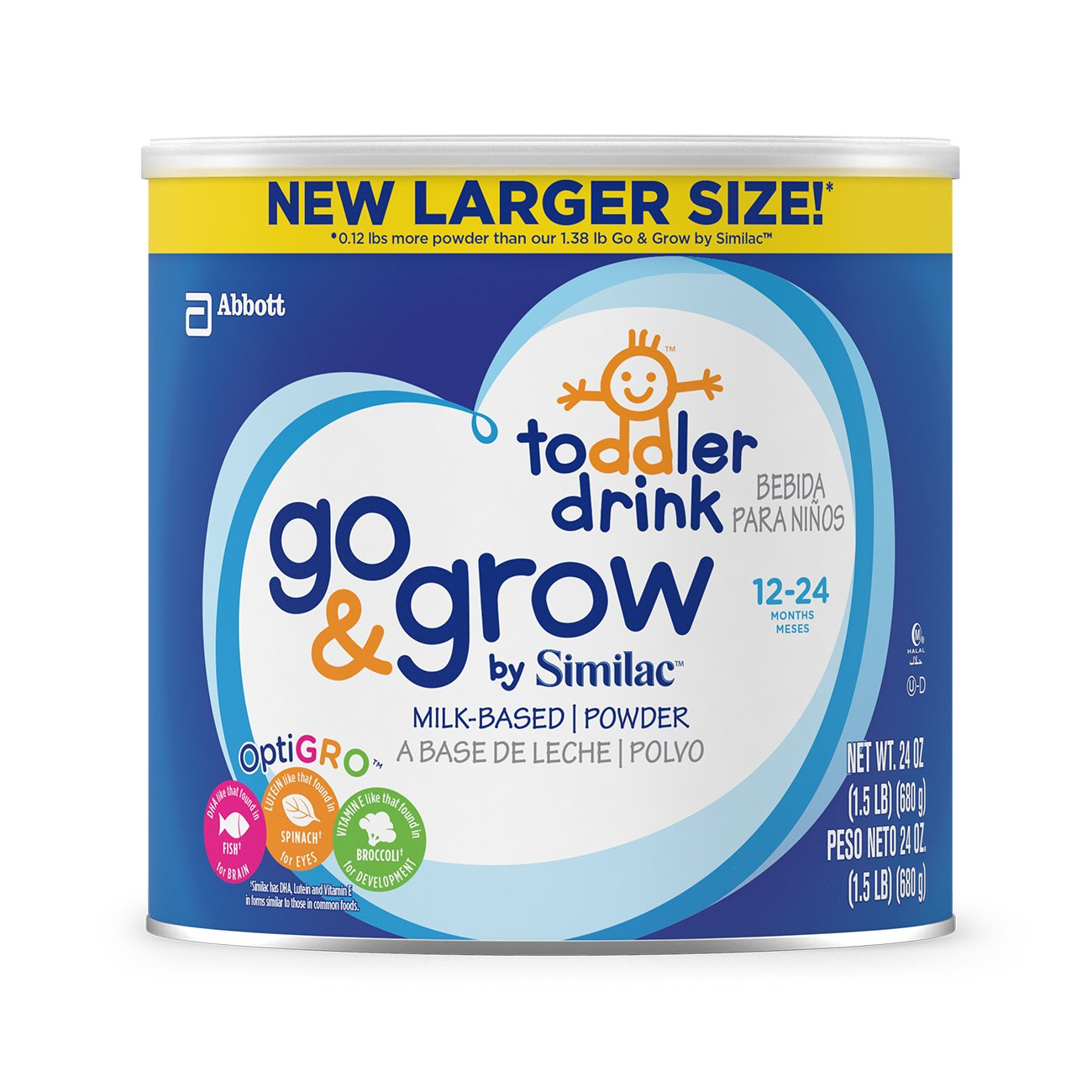 Go & Grow By Similac Milk Based Toddler Drink, Large Size Powder, 24 ounces (Pack of 6) by Similac (Image #1)