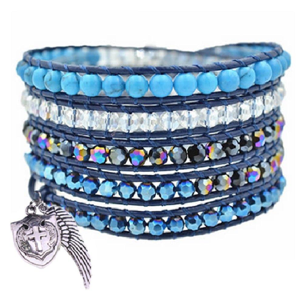Guardian Angel Blue Crystal and Stone Wrap Bracelet Christian Catholic Gift